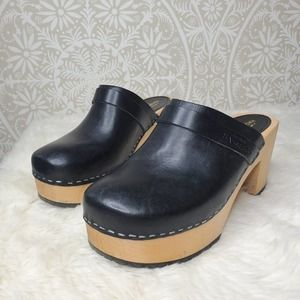Swedish Hasbeens Louise Black Clogs 39 *